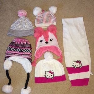 Lot of 5 girls 4t winter hats.  Hello kitty.